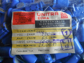 Kondensator 220uF 63V Unitra Elwa 04/U