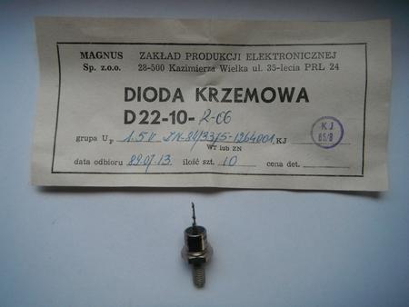 Dioda D22-10R-06 Unitra Lamina 10A 600V  (1)