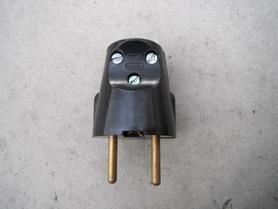 Wtyczka bakelitowa Wu-10 Nowe 10A 250V z uziemieniem industrial loft